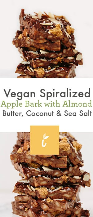 vegan spiralized apple bark with almond butter coconut and sea salt