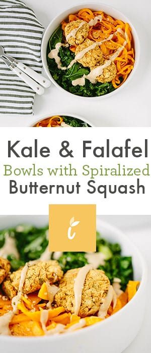 Kale & Falafel Bowls with Spiralized Butternut Squash