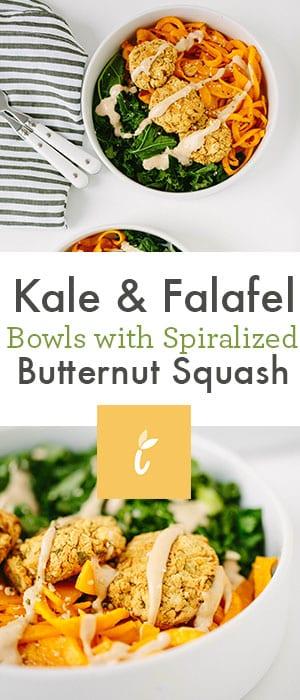 Kale & Falafel Bowls with Spiralized Butternut Squash