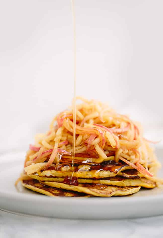 TWO-INGREDIENT PANCAKES WITH CINNAMON SPIRALIZED APPLES