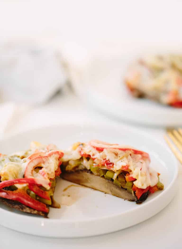 PORTOBELLO MUSHROOM PHILLY CHEESE SANDWICH WITH SPIRALIZED PEPPERS AND ONIONS
