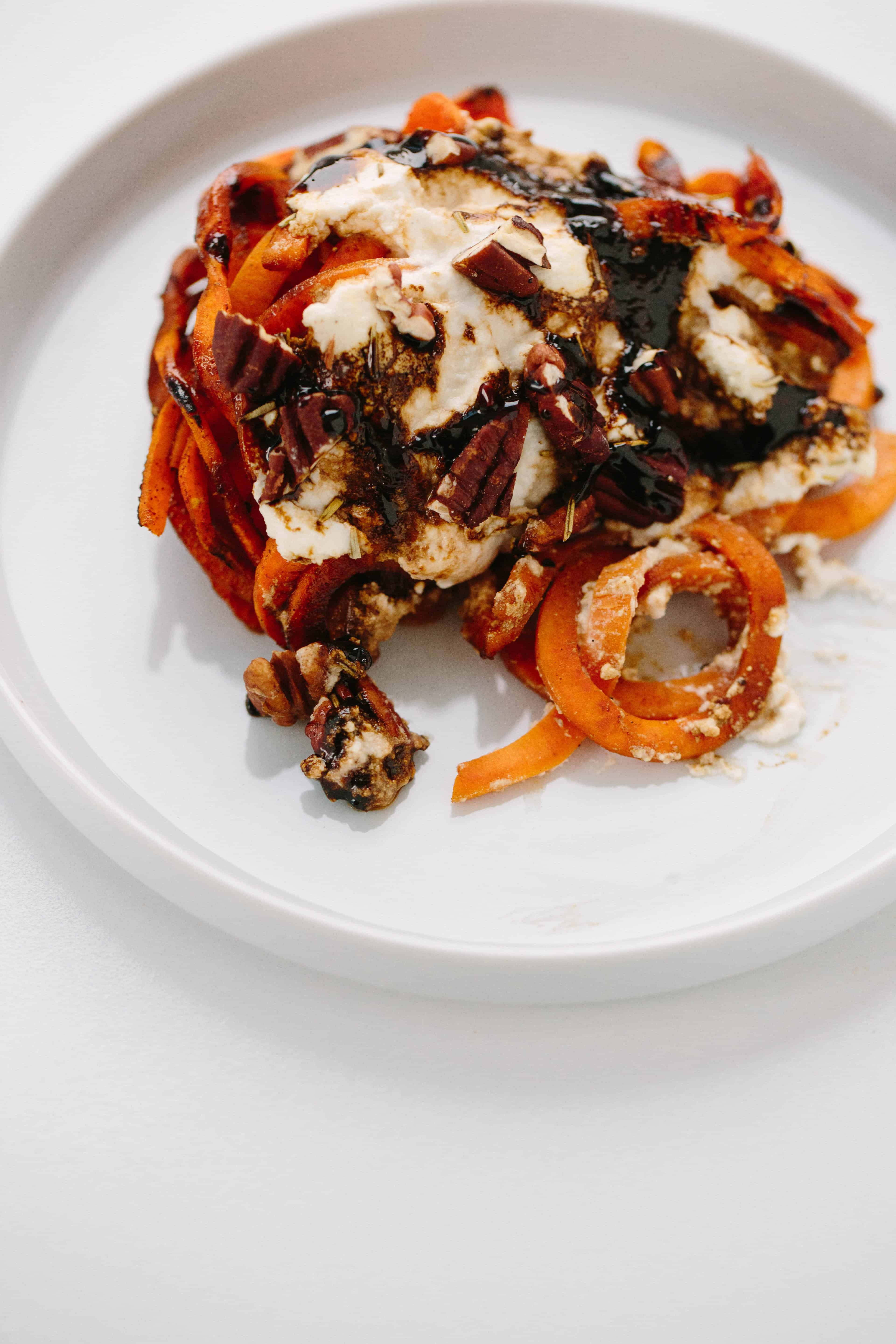 Baked Sweet Potato Noodles with Ricotta and Balsamic Glaze