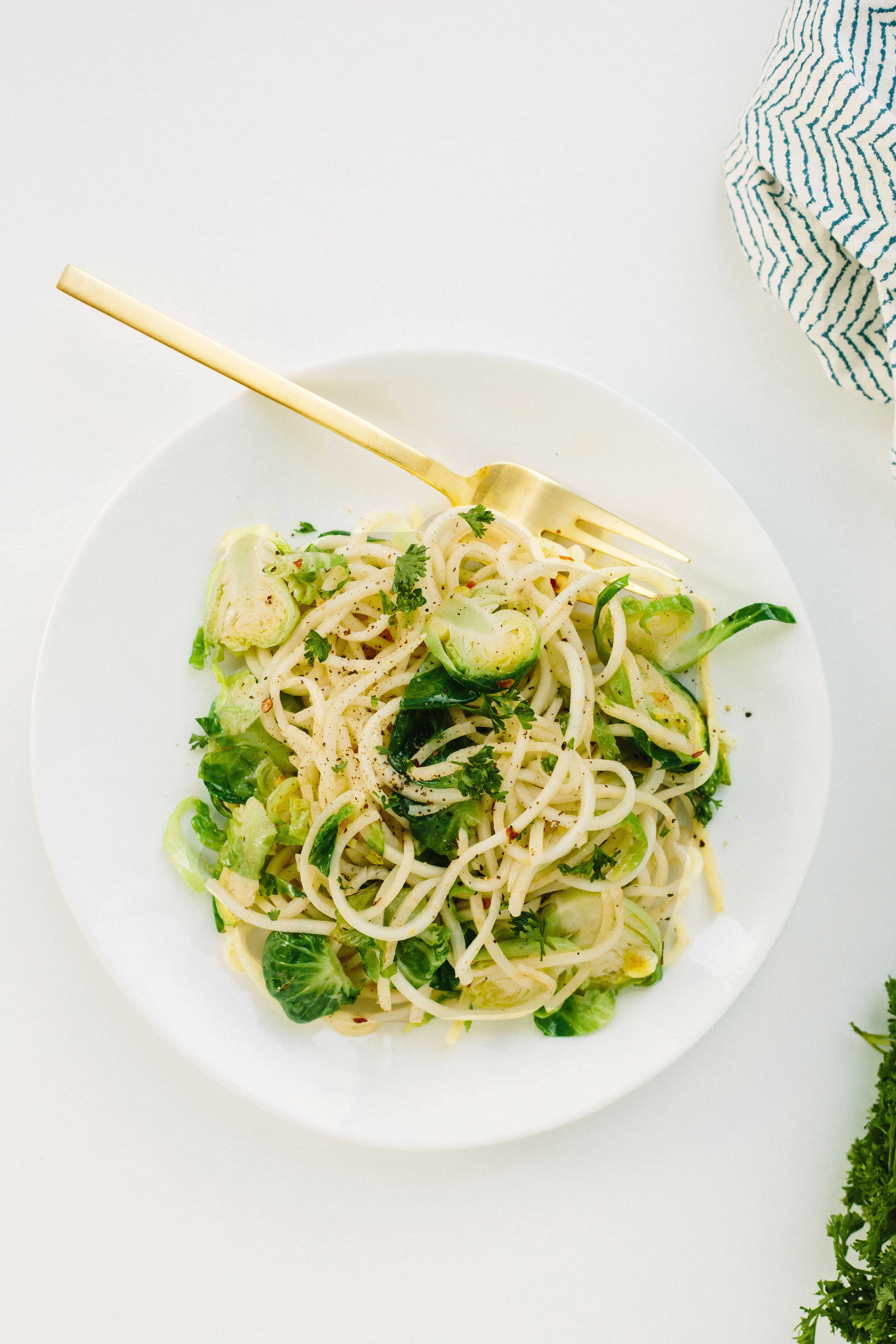 Spiralized Celeriac Pasta with Brussels Sprouts