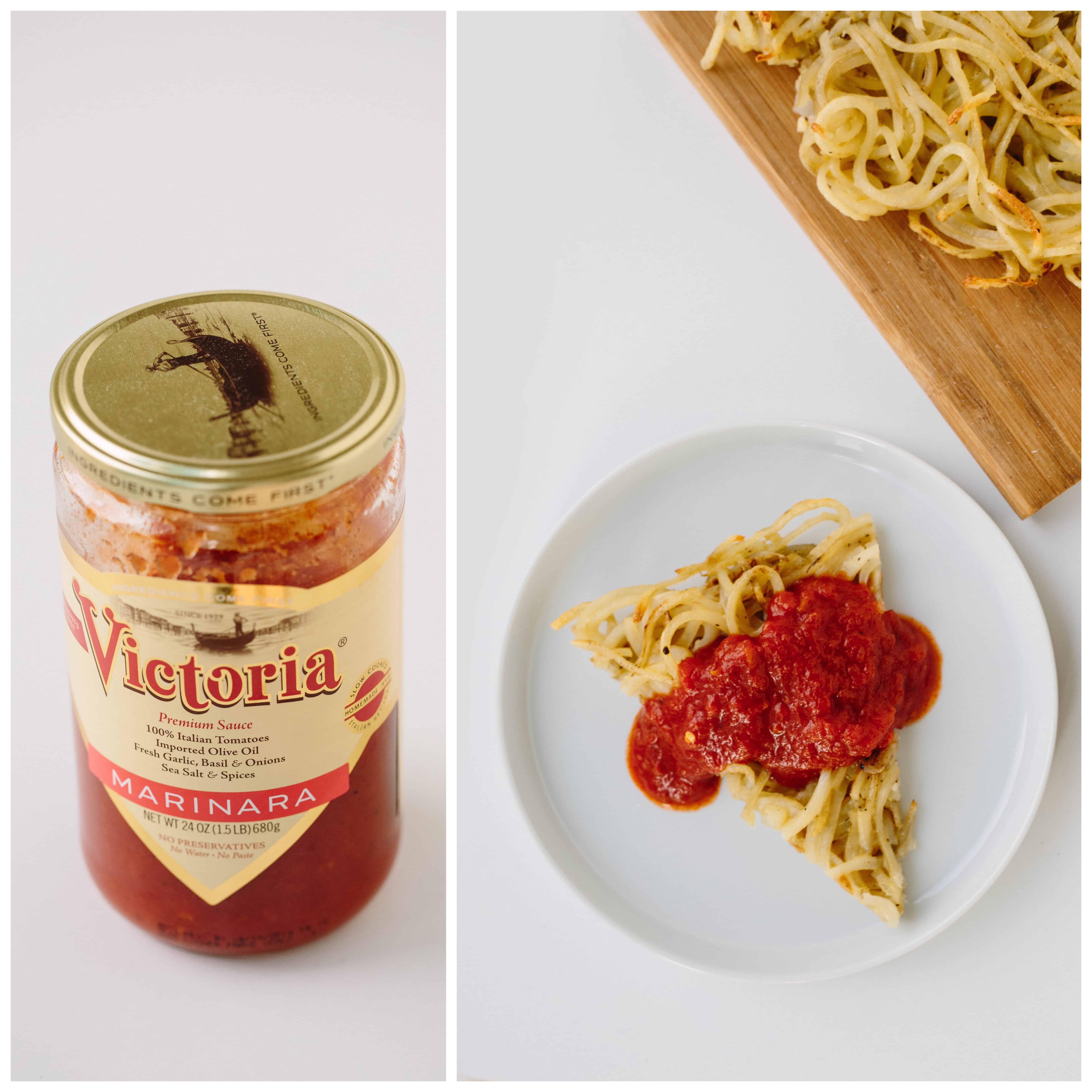 Spiralized Potato Spaghetti Pie with Spicy Marinara Sauce