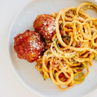 Gluten-Free Turkey Meatballs with Zucchini Spaghetti