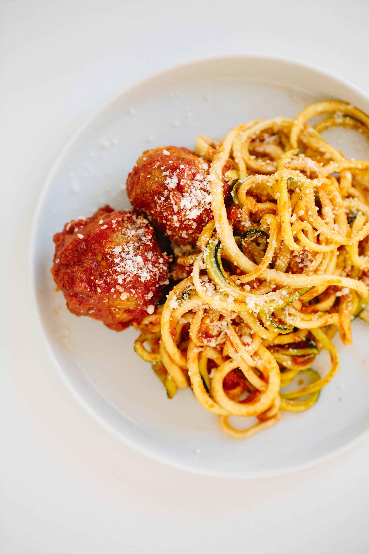 Zucchini spaghetti and gluten free turkey meatballs for Zucchini noodles and meatballs recipe