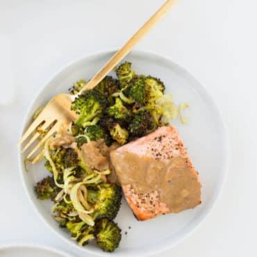 Baked Lemon Salmon with Spiralized Broccoli and Dijon Sauce