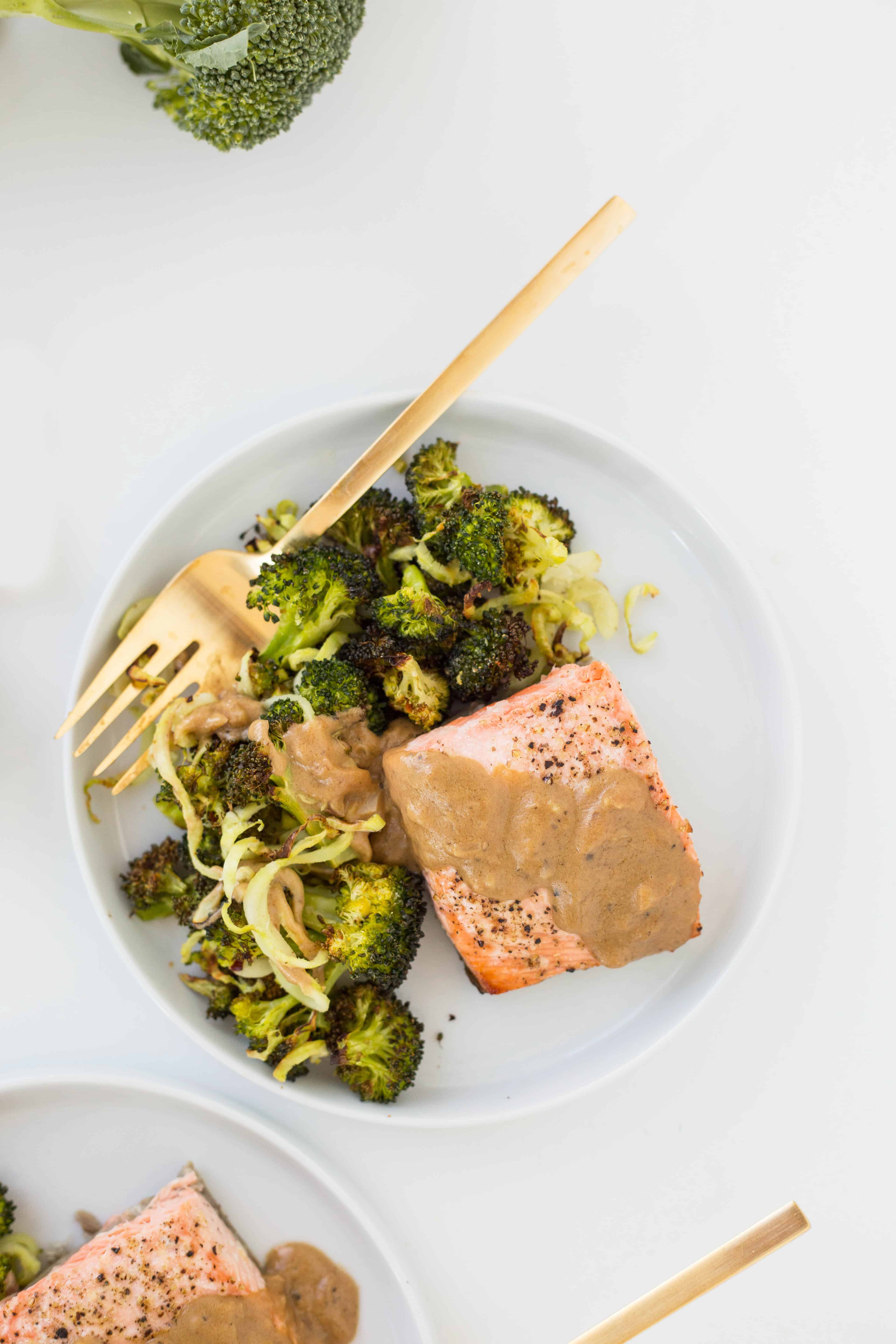 Baked Lemon Salmon with Spiralized Broccoli and Dijon Sauce