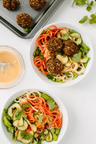 Spiralized Banh Mi Salad with Vegetarian Meatballs