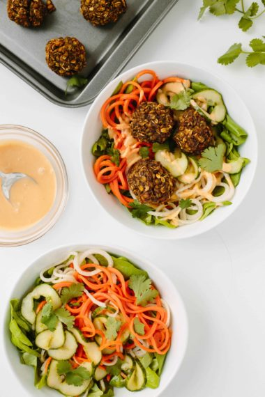 Spiralized Banh Mi Salad with Vegetarian Meatballs