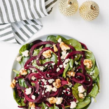 Spiralized Beet and Spinach Salad with Gorgonzola