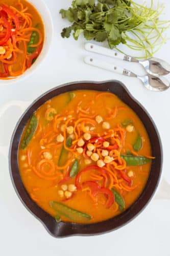 Vegan Coconut Chickpea Curry with Spiralized Carrots and Bell Peppers