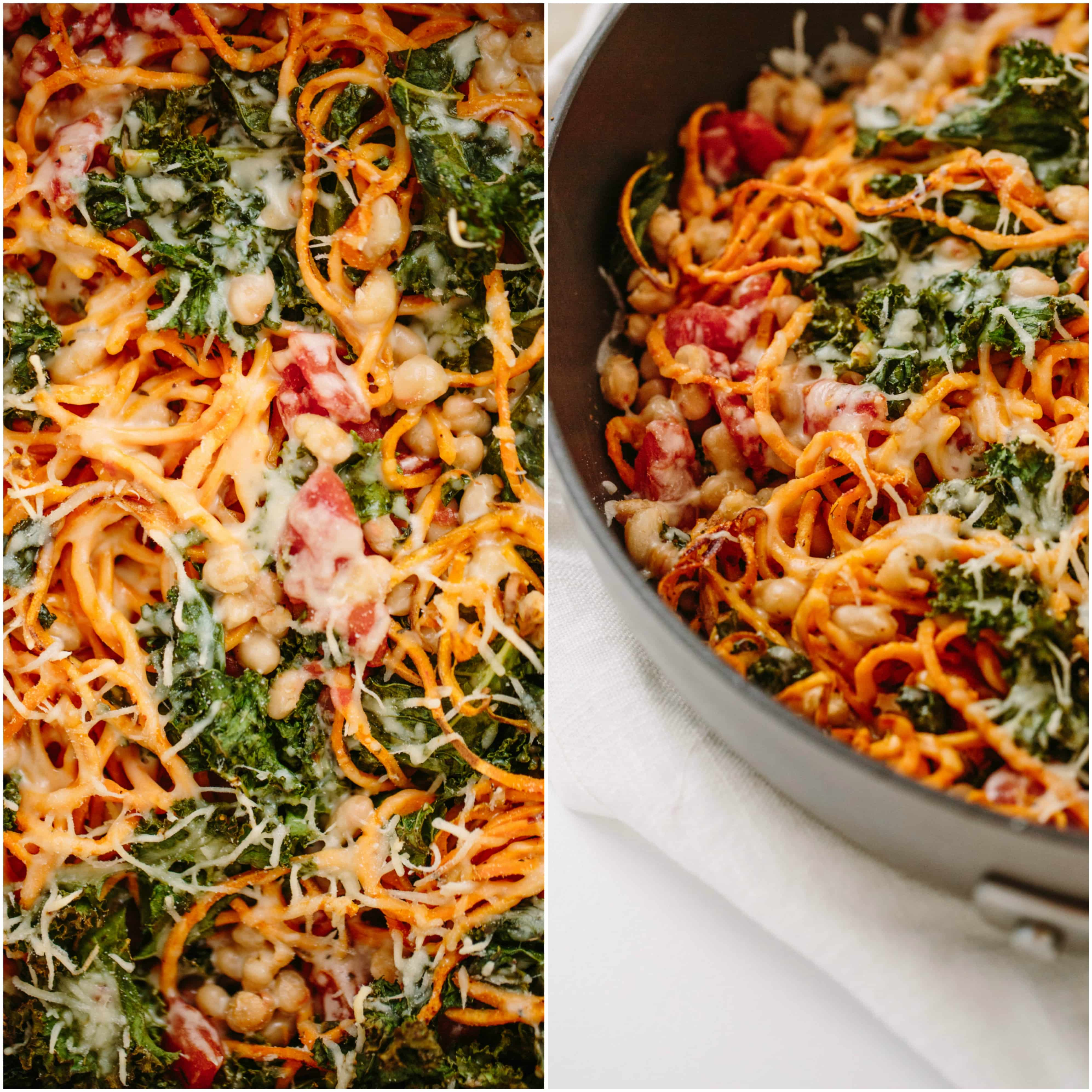 Spiralized Sweet Potato, White Bean and Kale Bake
