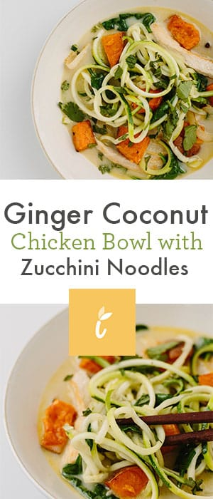 Ginger Coconut Chicken Bowl with Zucchini Noodles