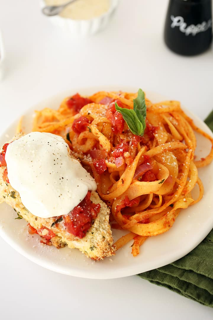 GLUTEN-FREE CHICKEN PARMESAN WITH RUTABAGA NOODLES