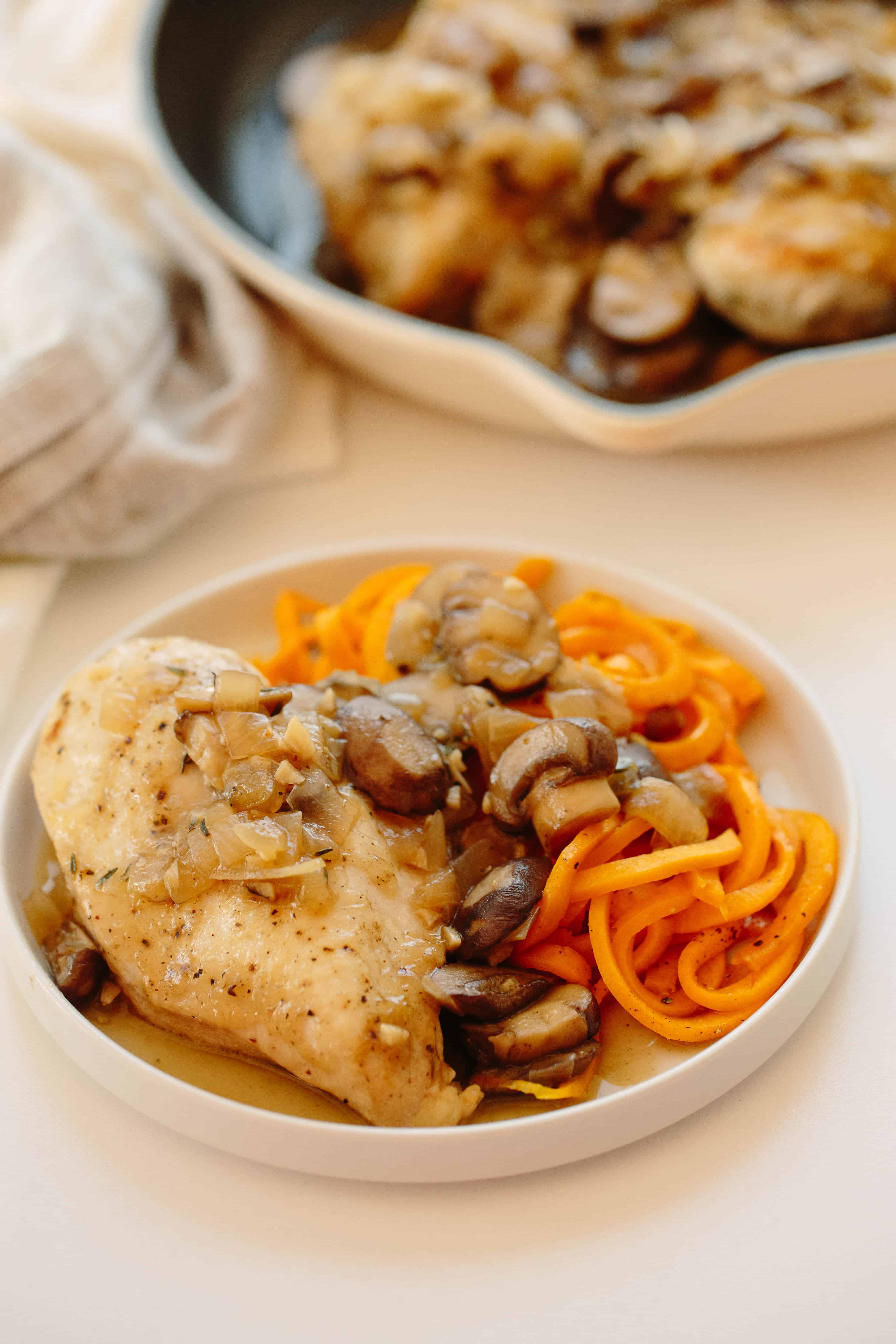 CHICKEN IN MUSHROOM SAUCE WITH BUTTERNUT SQUASH NOODLES