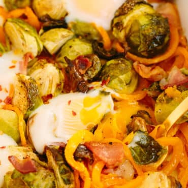 Brussels Sprouts, Bacon and Spiralized Sweet Potato Bake
