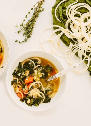 White Bean and Chard Soup with Spiralized Celery Root