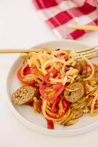 Mom's Spiralized Peppers, Onions, and Potatoes with Sausage