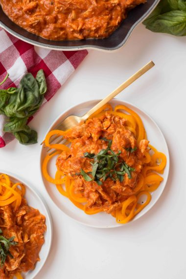 Butternut Squash Noodles with Creamy Tomato and Chicken Sauce