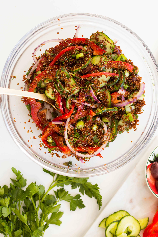 Mediterranean Quinoa Salad with Spiralized Veggies