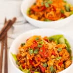 Chicken Lettuce Wrap Bowls with Spiralized Vegetables