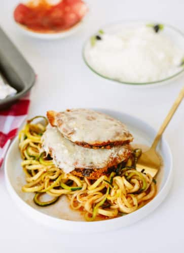 Gluten-Free Eggplant Parmesan with Zucchini Spaghetti