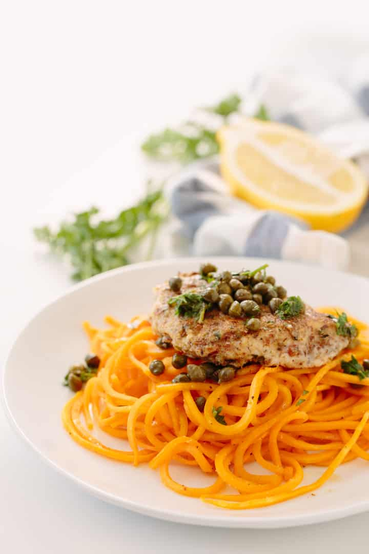 PALEO CHICKEN PICCATA WITH BUTTERNUT SQUASH NOODLES