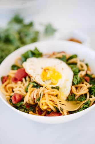 Spiralized Parsnip and Kale Breakfast Bowl