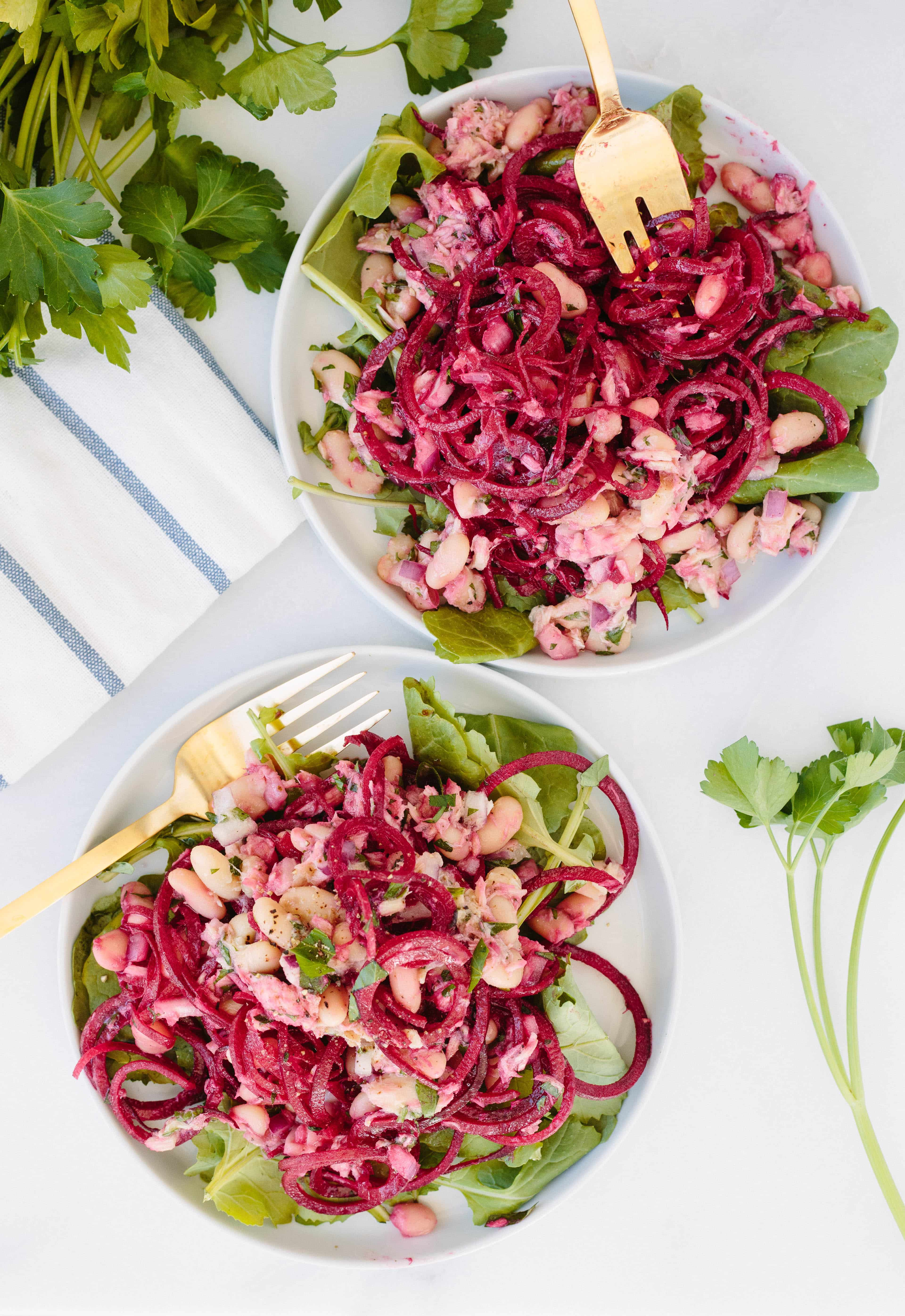Tuna and White Bean Salad with Spiralized Beets