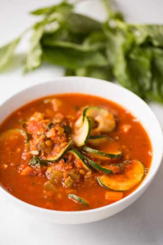 Zucchini Lasagna Soup with Lentils