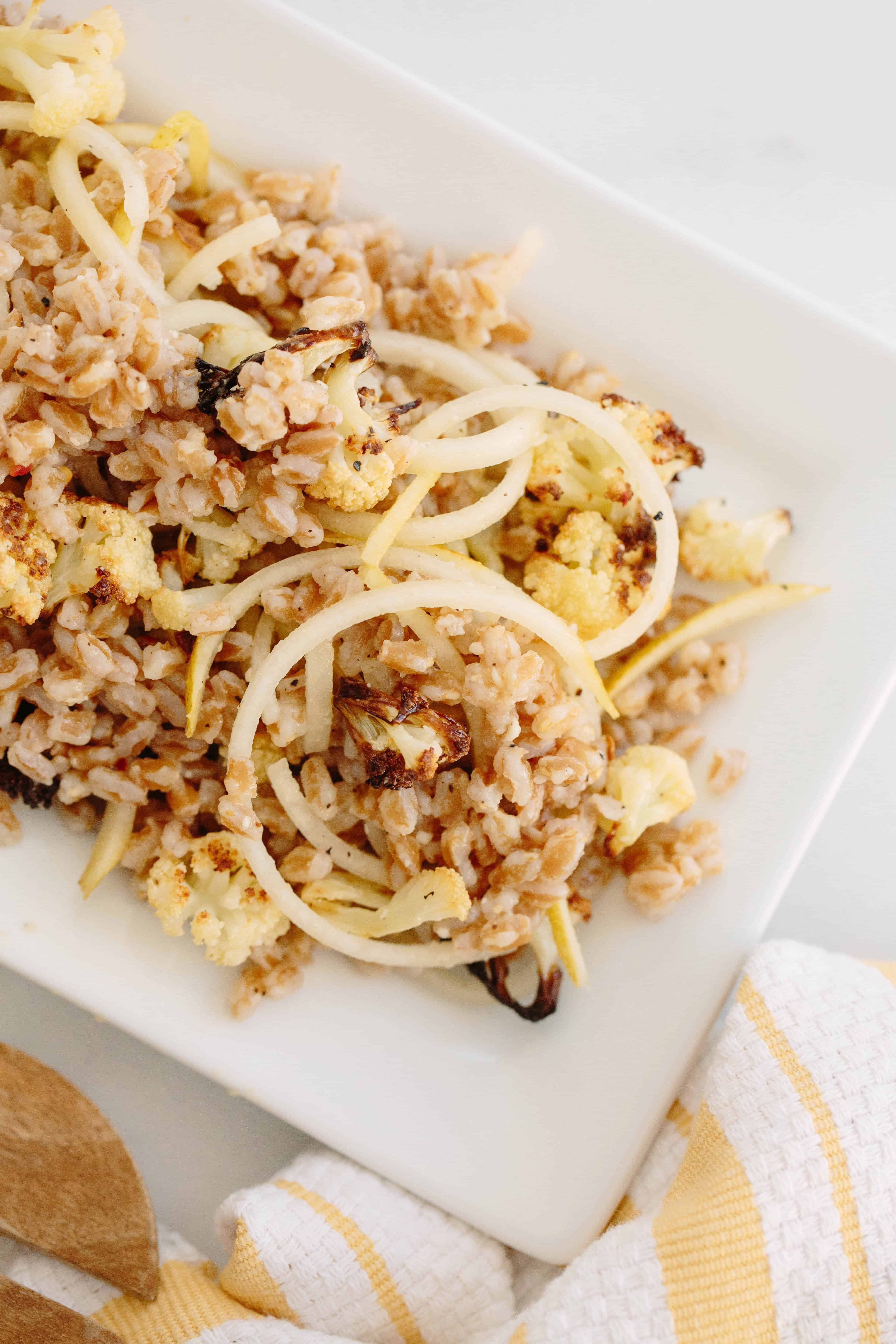 Farro, Roasted Cauliflower Salad and Pear Noodle with Parmesan-Lemon Dressing