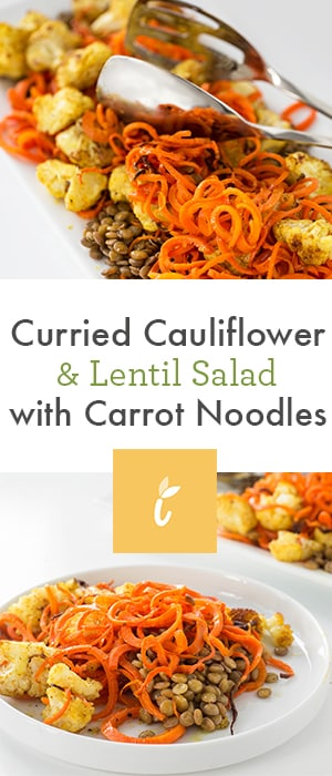 Curried Cauliflower & Lentil Salad with Carrot Noodles