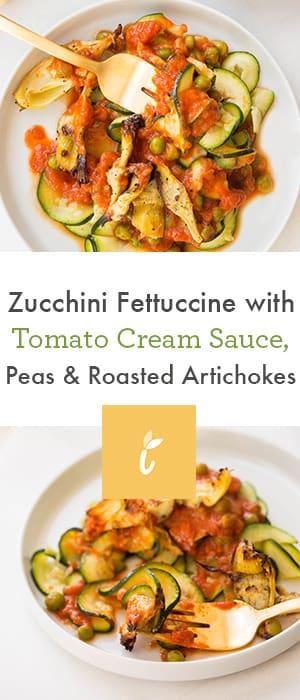 Zucchini Fettuccine with Tomato Cream Sauce, Peas & Roasted Artichokes