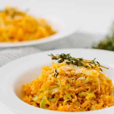 Spiralized Butternut Squash Leek Risotto