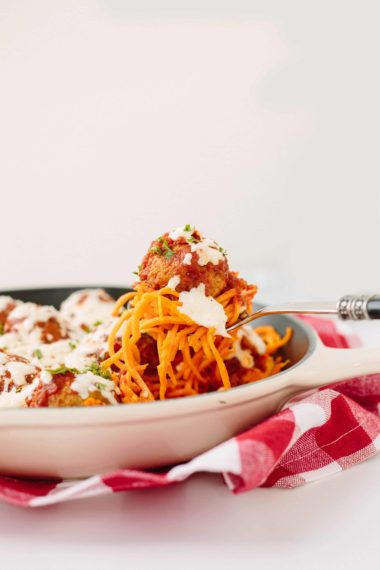 Chicken Meatball Parmigiana and Sweet Potato Noodle Bake
