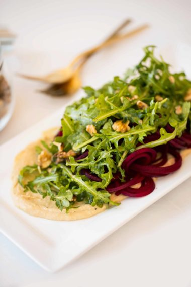 Spiralized Beets with Hummus and Arugula