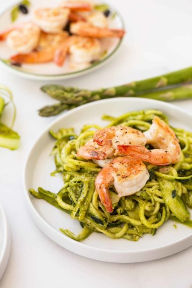 Pesto Zucchini Noodles with Shaved Asparagus and Shrimp