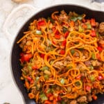 Spiralized Sweet Potato and Chorizo Breakfast Bowls