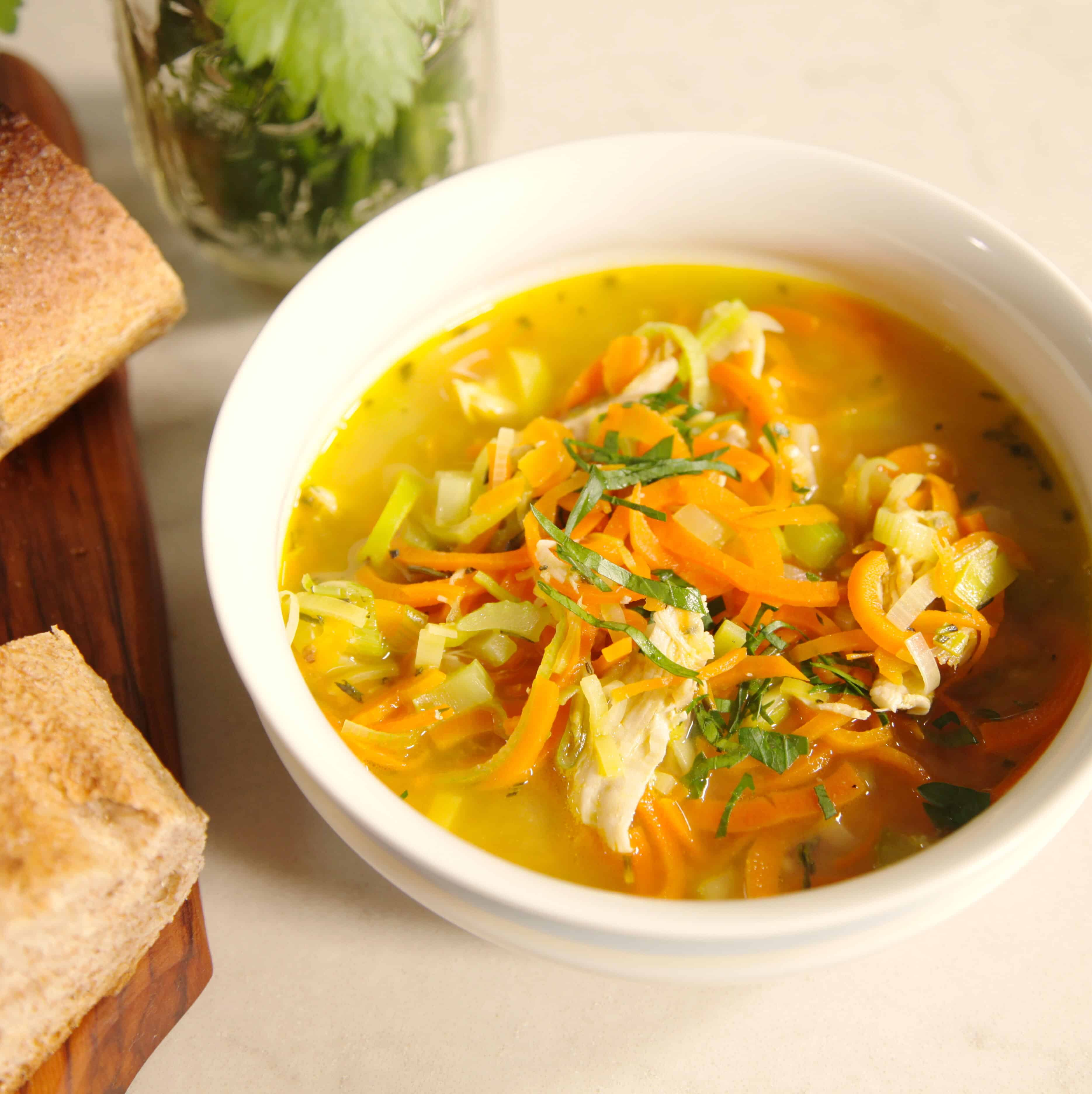 Chicken and Leek Soup with Carrot Noodles