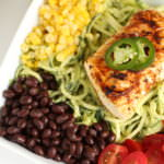 Fish Taco Zucchini Noodle Bowl with Creamy Avocado Dressing