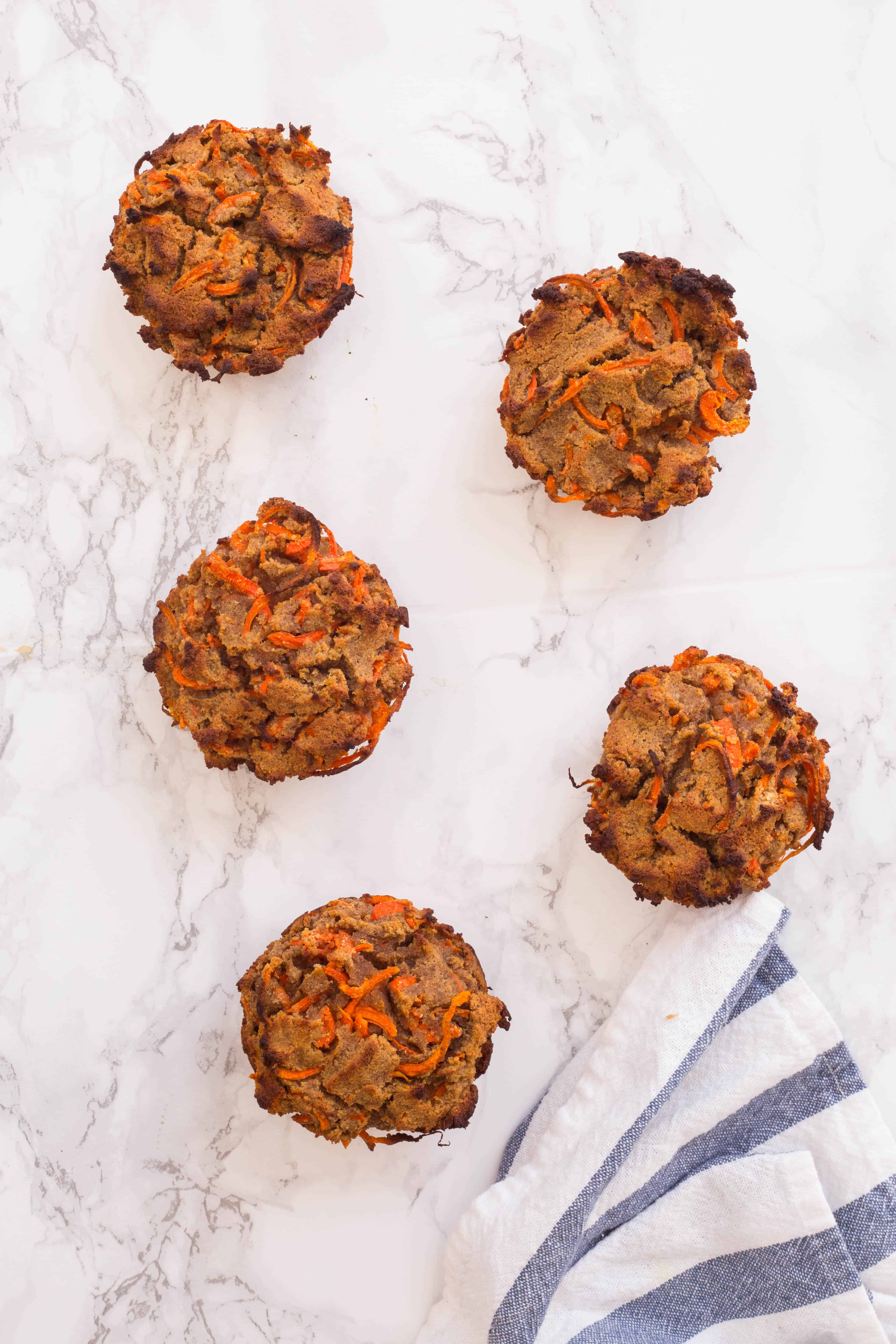 Spiralized Carrot Cake Muffins with Coconut Cream Frosting
