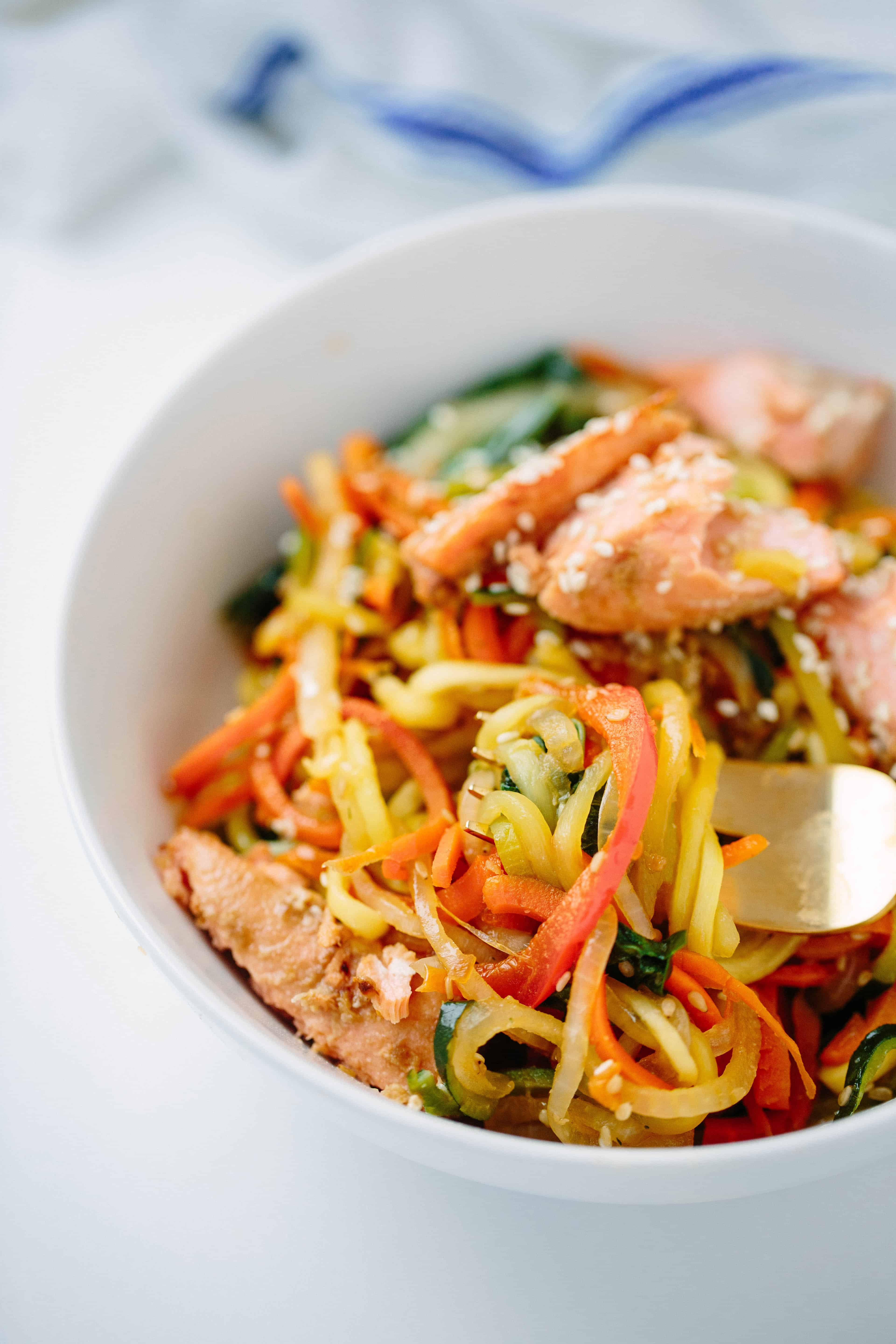 Soy-Ginger Salmon with Teriyaki Zucchini Noodle Stirfry
