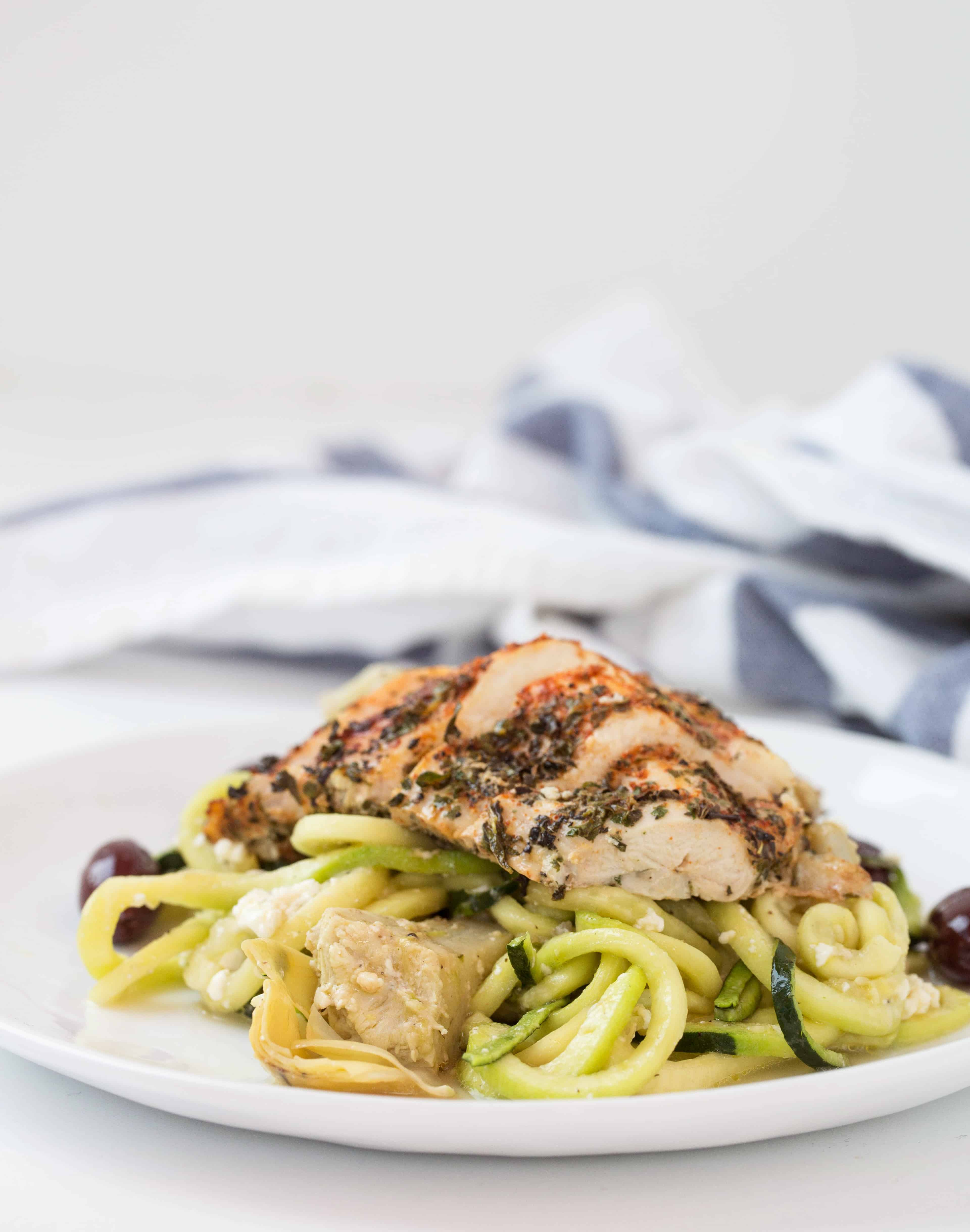 Lemon-Herb Chicken and Roasted Artichoke Zucchini Pasta with Feta