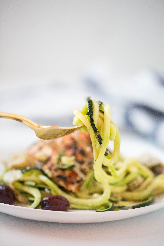 Lemon-Herb Chicken and Roasted Artichoke Zucchini Pasta with Feta