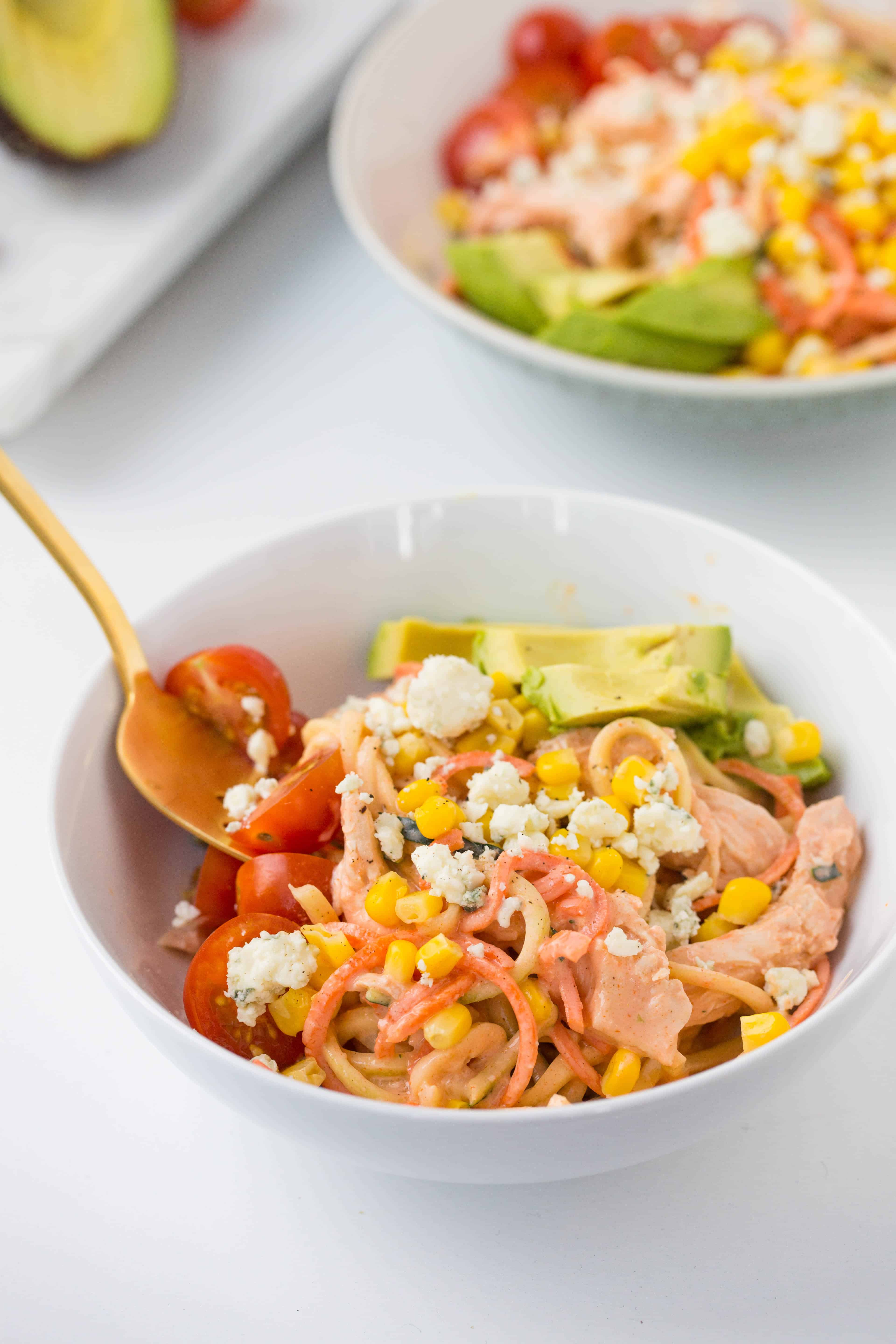 Buffalo Chicken Bowls with Zucchini and Carrot Noodles