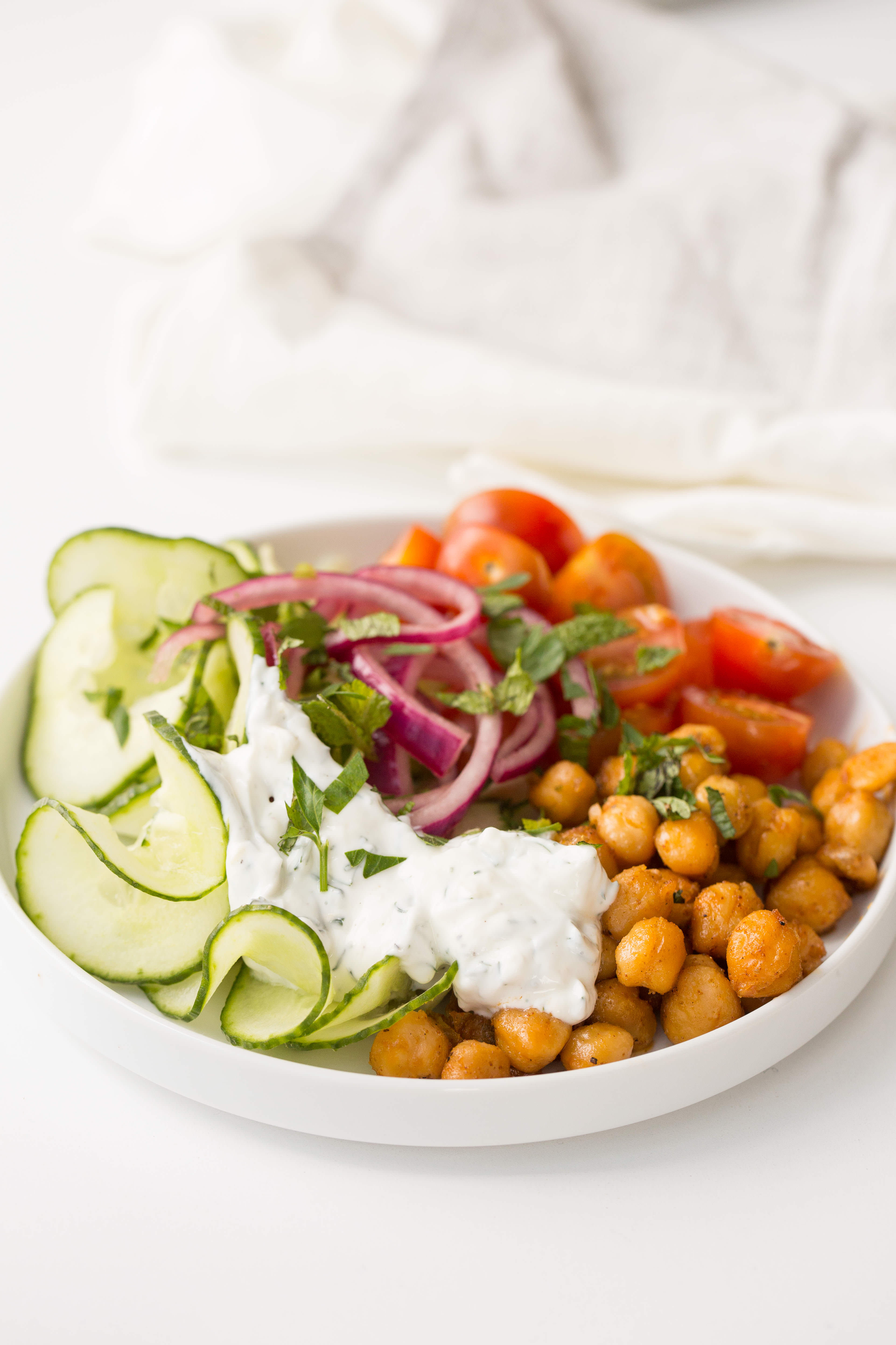 Spiced Chickpea Yogurt Bowls with Spiralized Cucumbers