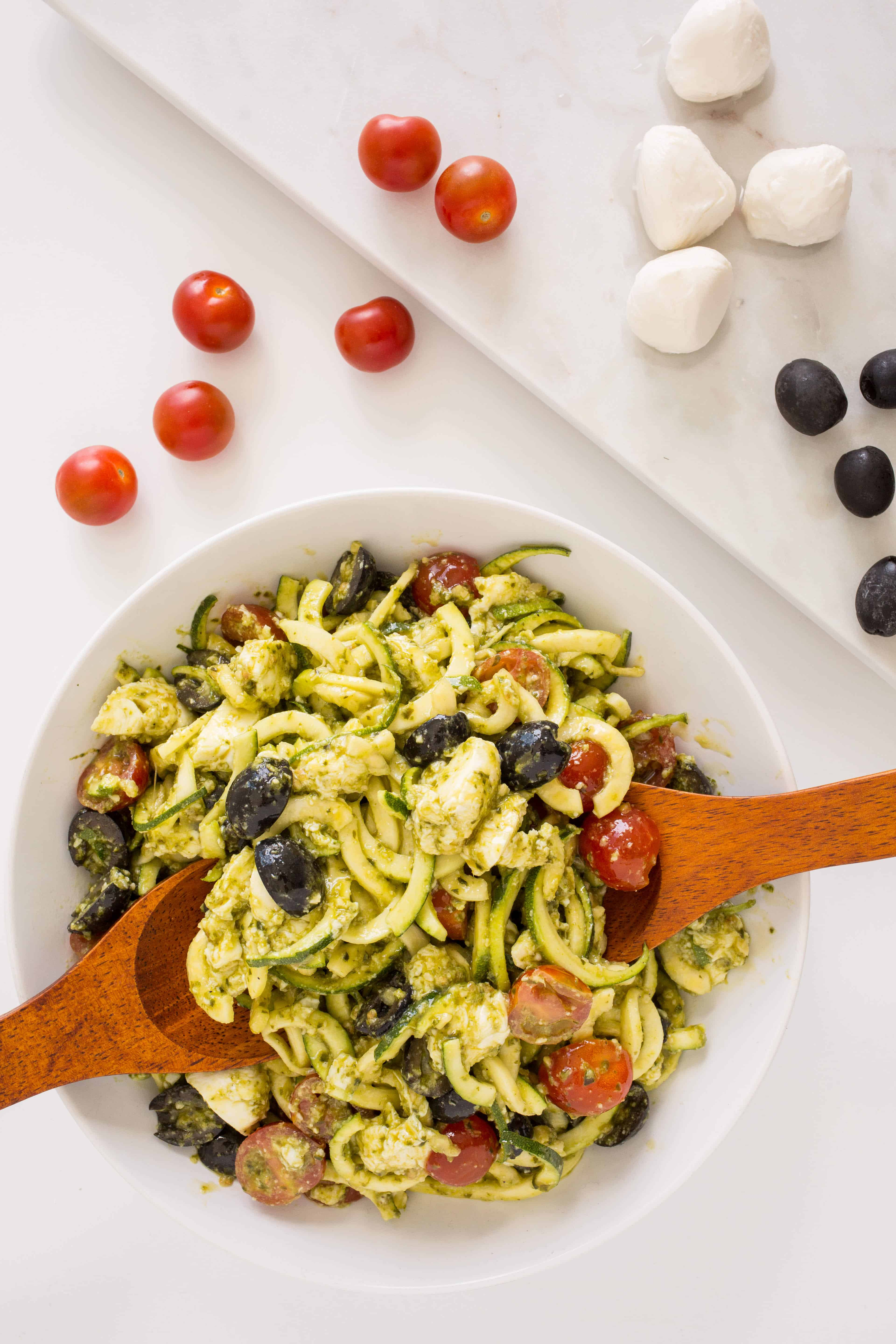 Mozzarella, Tomato and Pesto Zucchini Pasta Salad