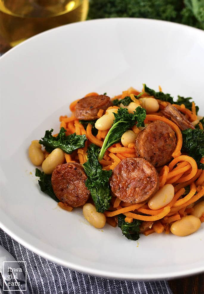 Chicken Sausage, Kale and White Bean Sweet Potato Noodle Skillet