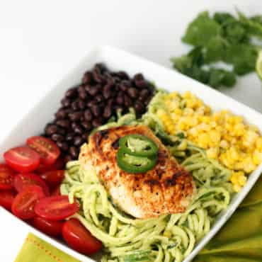 Fish Taco Zucchini Noodle Bowl with Avocado Cilantro Dressing